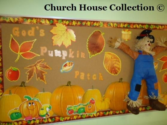 Christian Thanksgiving Bulletin Boards for Preschool | Fall Scarecrow Bulletin Board Idea God's Pumpkin Patch