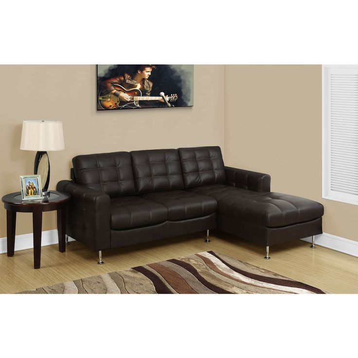 Monarch Dark Brown Bonded Leather Sectional Sofa Lounger