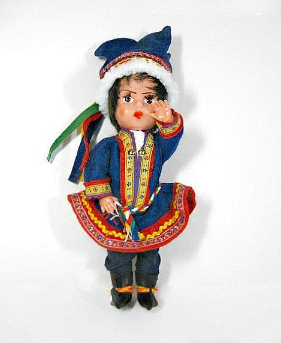 Scandinavian Folk Doll Nordic Male Sami Costume Blinking by autena, $15.00