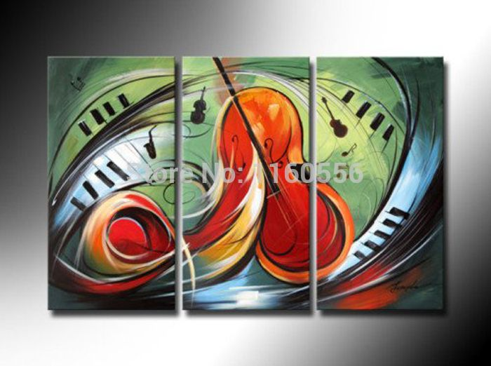 High Quality Oil Painting Art Musical Instruments Orange Guitar Piano Green On Canvas 3 Piece Set Wall Art Home Decoration Sale