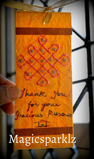 DIY easy bookmark with handmade paper, quilling strips and fevicryl 3d liner