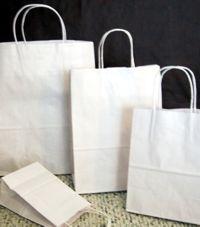 white paper shopper bags; each size around $0.50