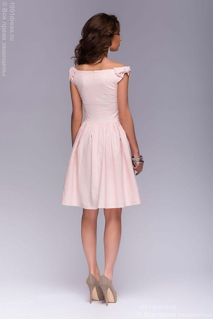 Платье нежно-розового цвета длины мини с бантиками на плечах недорого в интернет-магазине 1001DRESS