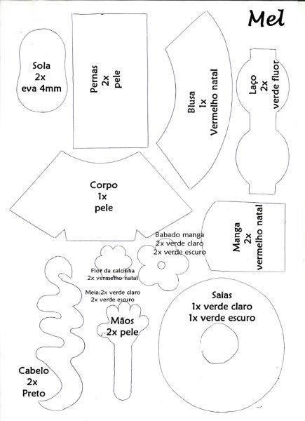 PATRON PARA MUÑECA DE Goma EVA