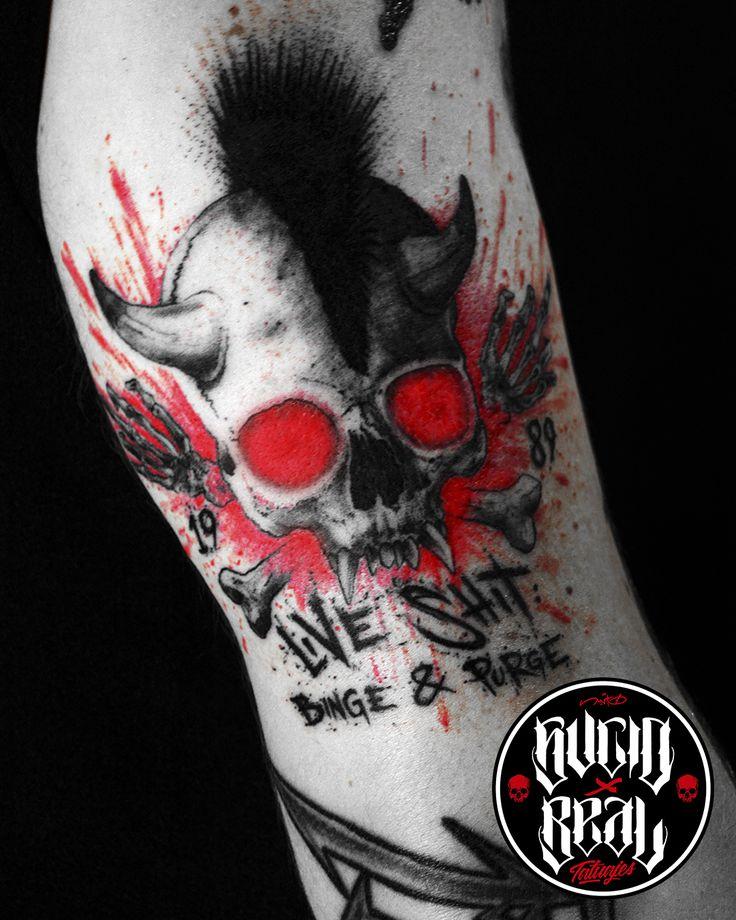 """Rediseño del logo de """"Live Shit"""" (Metallica) para Gonzalo en el estudio Sucio X Real Tatuajes (Gualeguaychú - Entre Ríos) #Tattoo #Tatuaje #Argentina #TattooArgentina #Gualeguaychú #LaPlata #TattooGualeguaychú #TattooLaPlata #Ink #SucioXReal #SantoUno #Art #TattooArt #Metallica #Skull #Cráneo #LiveShit"""
