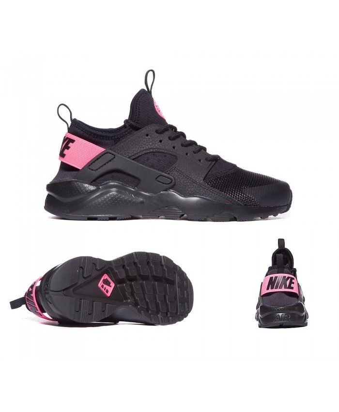 Nike Junior Air Huarache Run Ultra Trainers Black Pink