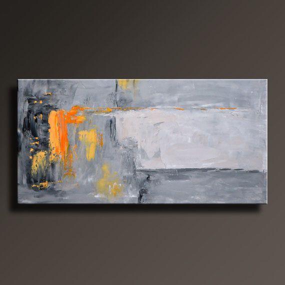 Tableau abstrait noir gris orange peinture toile art for Peinture noire tableau