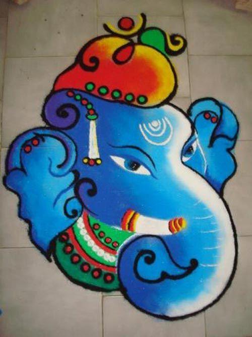 Rangoli designs for Ganesh festival