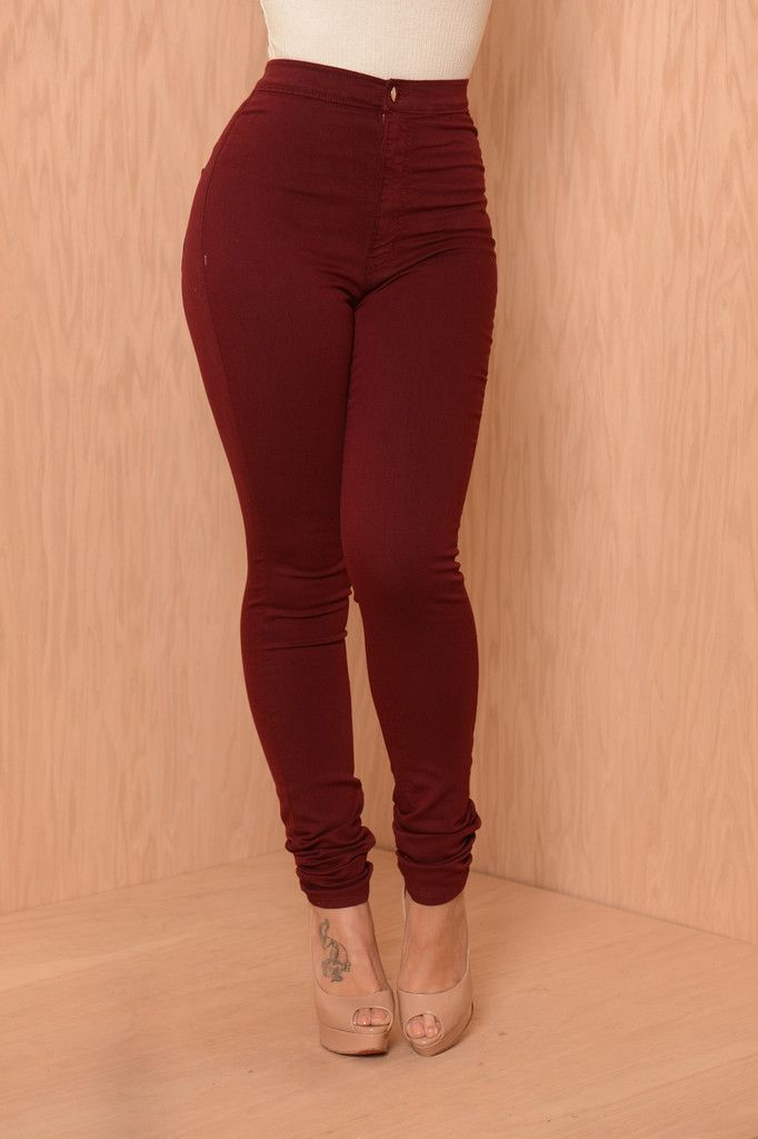 burgundy high waisted skinny jeans - Jean Yu Beauty