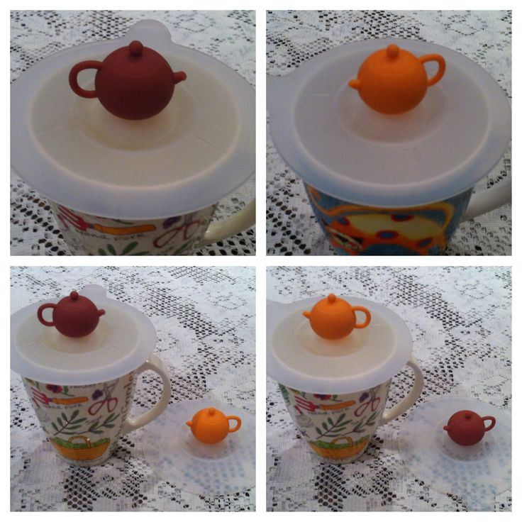 CHOC BROWN or ORANGE teapot knobs  on clear white dainty silicone cup covers.  Water-tight, helps keep drinks hot, prevent spillage & protects contents from dust & insects @ AUD$8.50 + postage or local pick up available.