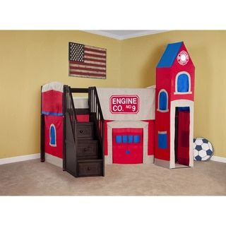 Shop for School House Chocolate Junior Loft with Stairs and Firehouse Tent. Get free delivery at Overstock.com - Your Online Furniture Outlet Store! Get 5% in rewards with Club O!