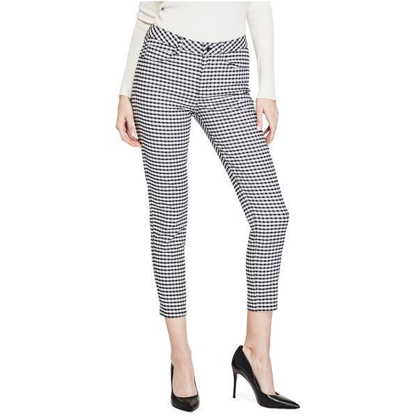GUESS Marilyn Gingham Cropped Pants (252.510 COP) ❤ liked on Polyvore featuring pants, capris, skinny leg pants, stretch pants, zip pants, white crop pants and cropped trousers