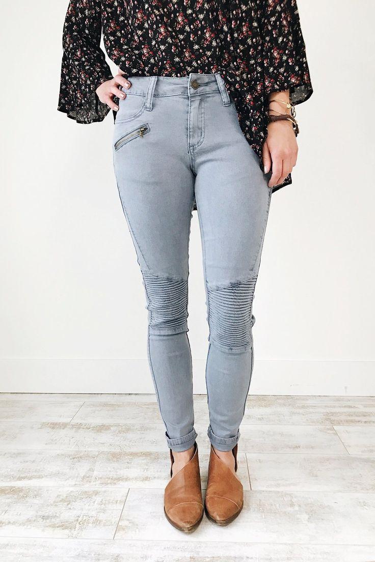 Denim Moto Skinny Jeans | ROOLEE