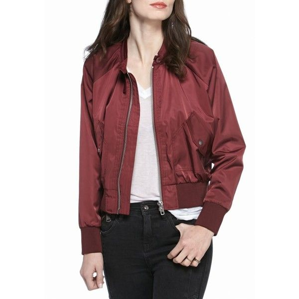 Free People  Midnight Bomber ($78) ❤ liked on Polyvore featuring outerwear, jackets, free people jacket, style bomber jacket, lightweight bomber jacket, lightweight jackets and red bomber jacket