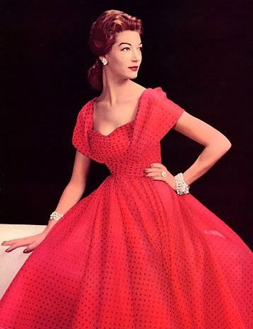 1957 vintage fashion style formal evening gown long full skirt red shelf bust portrait collar shoulders beaded color photo print ad model magazine 50s 60s