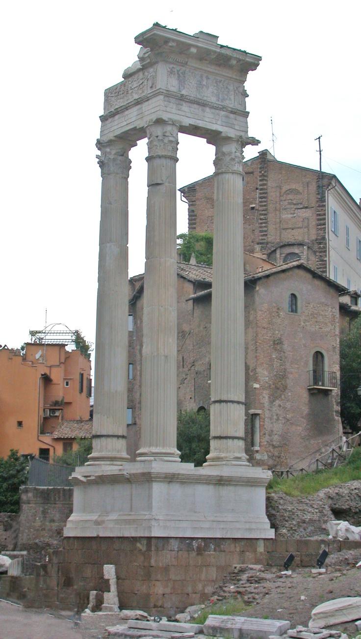 Temple of Apollo Sosianus in Rome. Modern ruins consist of 3 large pillars.  [2005]. Temple of Apollo Sosianus. Retrieved September 2011 from http://en.wikipedia.org/wiki/Temple_of_apollo_sosianus