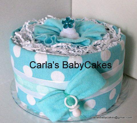 Tiffany Blue Diaper Cake - Girl's Baby Shower Diaper Cake - Polka Dot Diaper Cake Gift