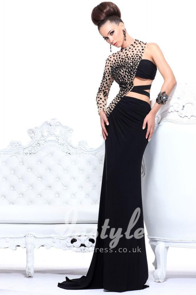 long jersey black prom dress with one long sleeve and large jewels