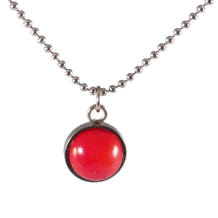 Stainless steel pendent necklace with bamboo coral in gorgeous red.