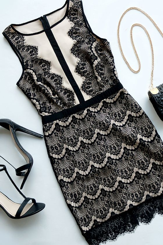 Act the Part Beige and Black Bodycon Lace Dress.