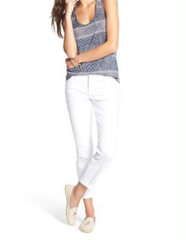 NYDJ petite Clarissa ankle optic white with sneakers #petitejeans #petitefashion