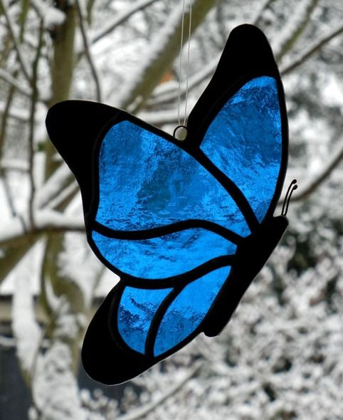 stained glass butterfly blue black 2