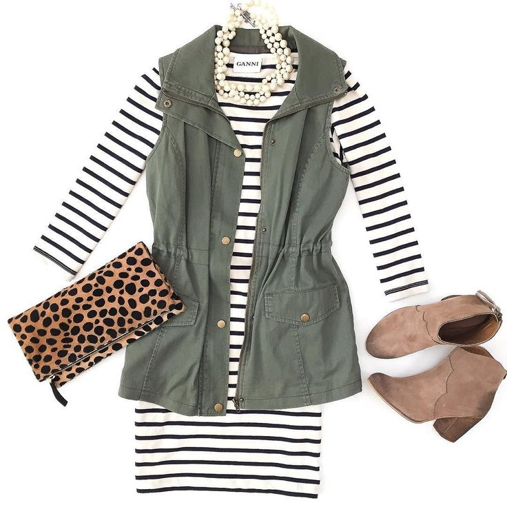 Favorite Fall ensemble - utility vest, striped... -