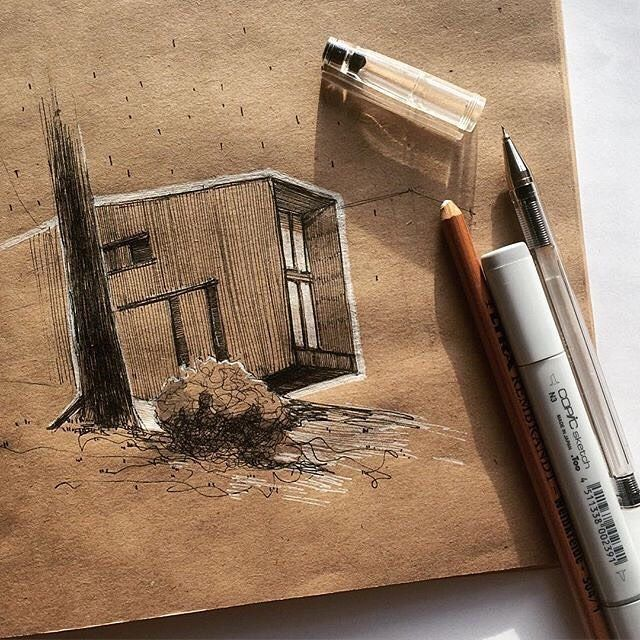 Regram:   Another quick sketch. : @tsarboi architecture drawing illustration art sketch