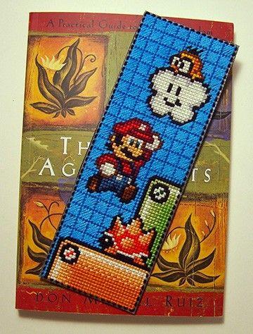 Super Mario Scene Cross Stitched Bookmark by dorkstitch