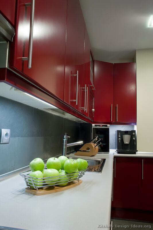 awesome modern kitchen cabinets red | 152 best images about Red Kitchens on Pinterest | Modern ...