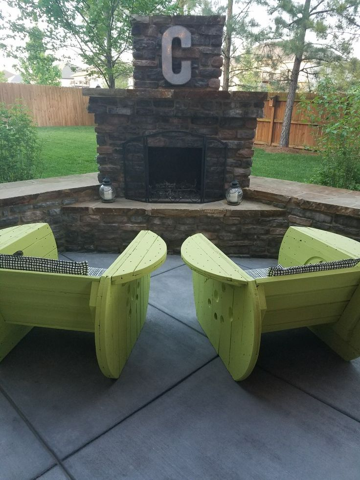 DIY welcoming space with homemade chairs. #diy #outdoorlife #outdoors #outdoorliving #outdoorfireplace #masonry #landscape #fireplace #kitchen #outdoorkitchen #outdoorcooking #patio #backyardideas #backyardflare #fireplace