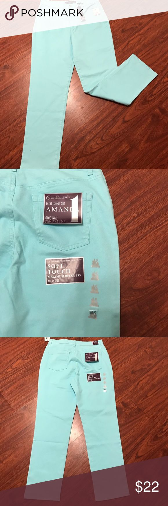 NWT light blue/sea foam colored jeans NWT never worn Gloria Vanderbilt colored jeans Amanda style. This is a beautiful sea foam color. 98% cotton and 3% elastane blend to give a comfortable fit. Last picture shown is to give an example of the fit. Smoke free home.  Check out my other listings for a bundled discount.   Available in size 2 and three pairs in size 12. Jeans Straight Leg