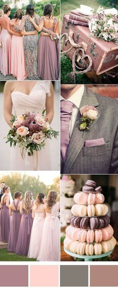 mauve,pink and grey wedding color ideas