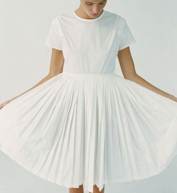 Sofie D'Hoore   S/S13   white pleated dress