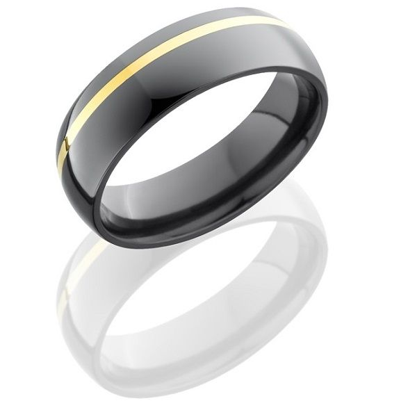 A yellow-gold stripe accents this sleek men's band.  Lashbrook Designs