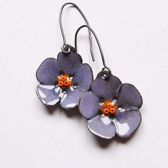 Flower Dangle Earrings, Enamel Jewelry, Purple Flower Earrings, BohemianJewelry