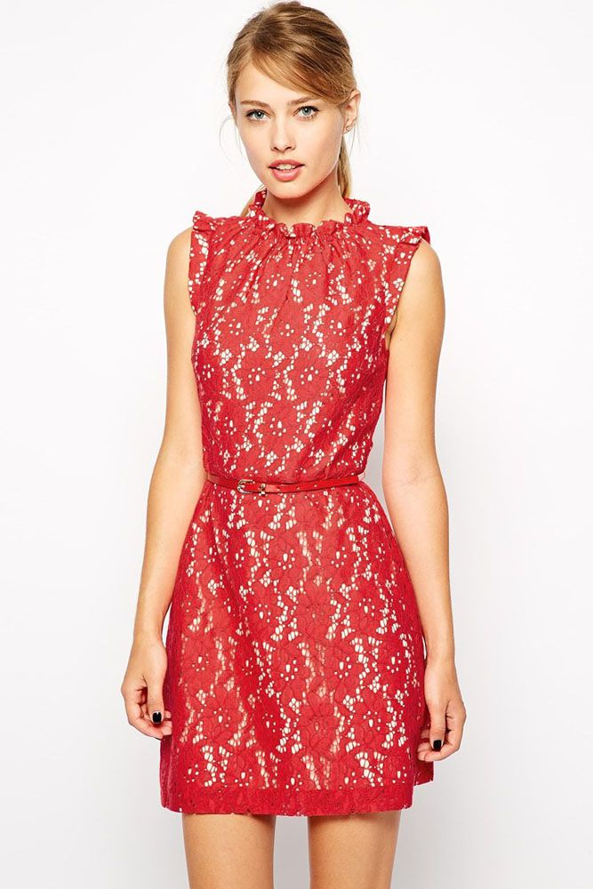 Red High Neck Lace Skater Dress with Belt