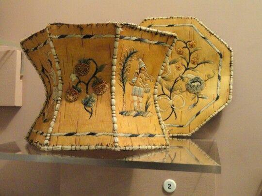 Birchbark hexagonal box,  Ojibwa,  with porcupine quill embroidery and sweet grass binding, Peabody M, Harvard