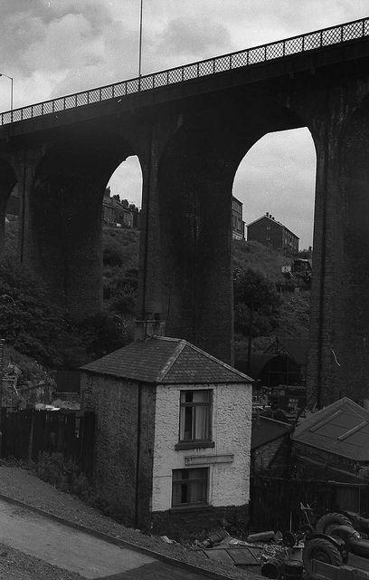 Byker bridges, Newcastle upon Tyne; 2/7/1972 by geoff.allan, via Flickr