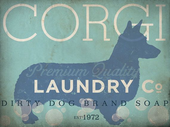 Corgi laundry company laundry room artwork giclee archival signed artists print 11 x 14