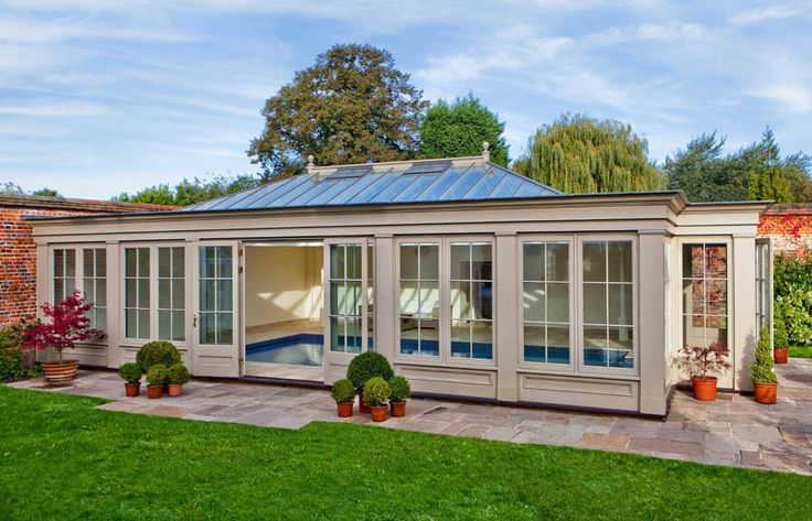 Glass & Timber Pool House in Essex - http://www.westburygardenrooms.com/pool-houses/case-studies/timber-and-glass-pool-house-in-essex/