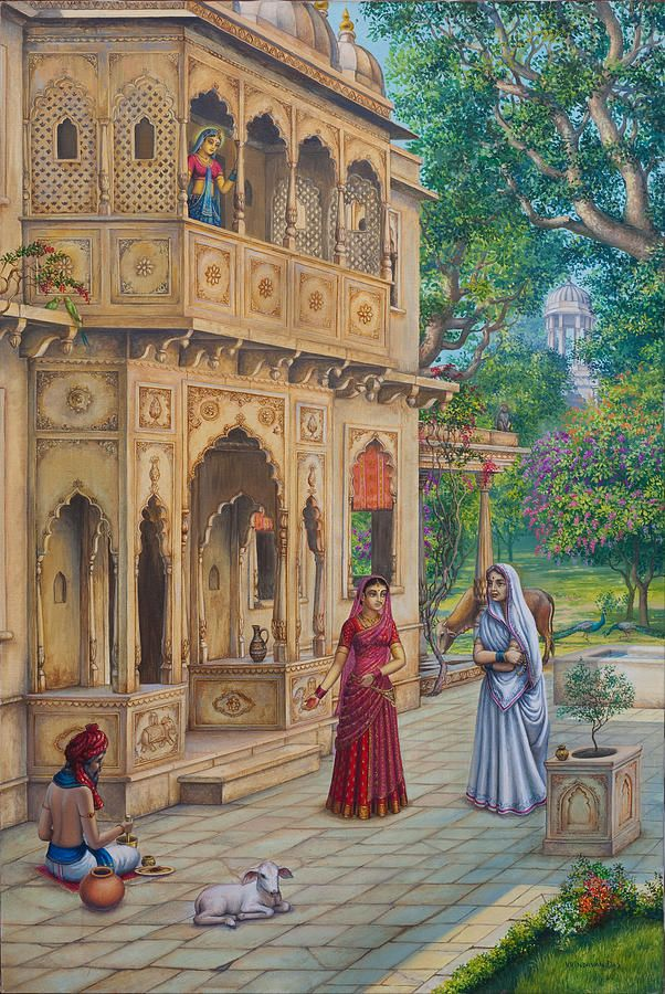 Daily Indian life- Hindu painting, India - Hinduism architecture