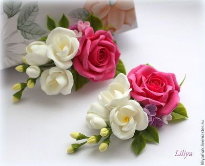 Заколки ручной работы. Розовая роза и фрезия (зажим для волос). Лилия Макарова. Ярмарка Мастеров. Цветы ручной работы
