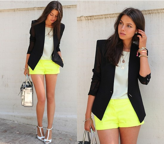 Bright shorts: Shoes, Neon Shorts, Outfits, Yellow Shorts, Color, Street Style, Neon Style, Neon Yellow, Black Blazers