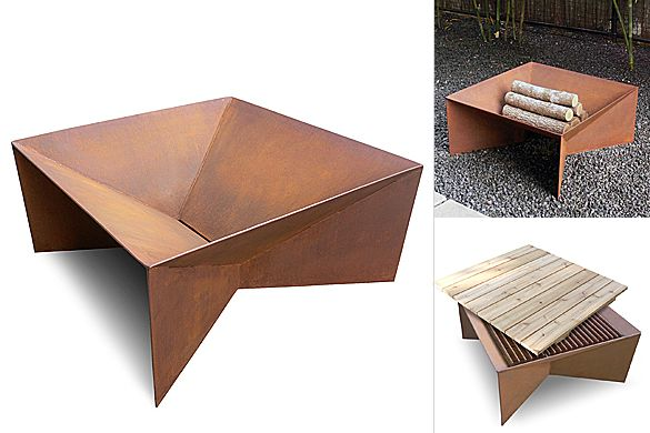 Plodes Studio's new product is this minimalist, geometric fire pit, which is handmade from durable steel with natural rust patina finish. Additional accessories are available that turn it int…