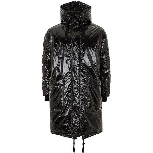 TOPMAN Black High Shine Parka ($190) ❤ liked on Polyvore featuring men's fashion, men's clothing, men's outerwear, men's coats, black, topman mens coats and mens parka coats