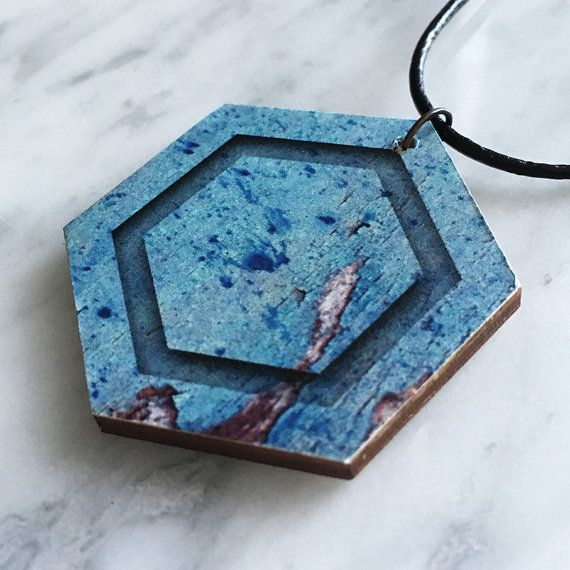 Wooden pendant, hexagon, rustic, faux bark pattern with simulated groove, turquoise with a hint of brown, leather cord, style 44