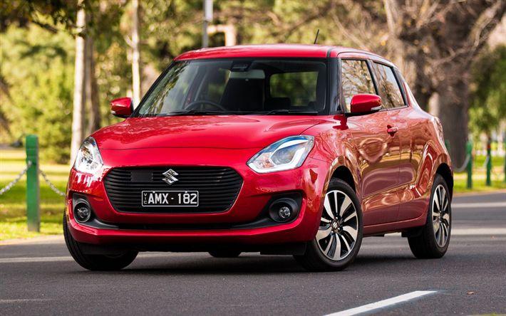 Télécharger fonds d'écran Suzuki Swift Sport, 2018, rouge Swift, à hayon, de nouvelles les voitures, les voitures Japonaises, Suzuki
