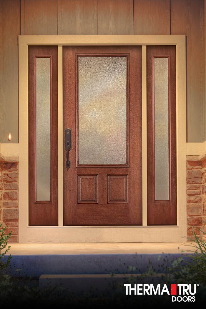 Therma Tru Fiber Classic Mahogany Collection Door With Granite Privacy  Glass.