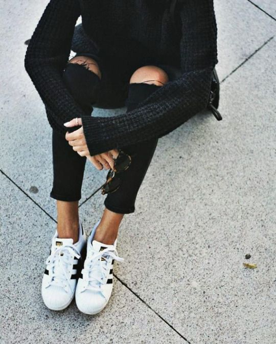 The Basic // All Black & Adidas Superstars.                              …